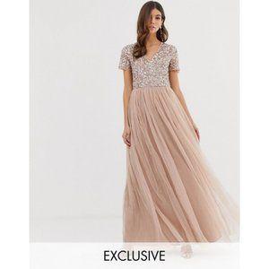 Maya Deluxe 6 Taupe Blush V-Neck Maxi Tulle Dress